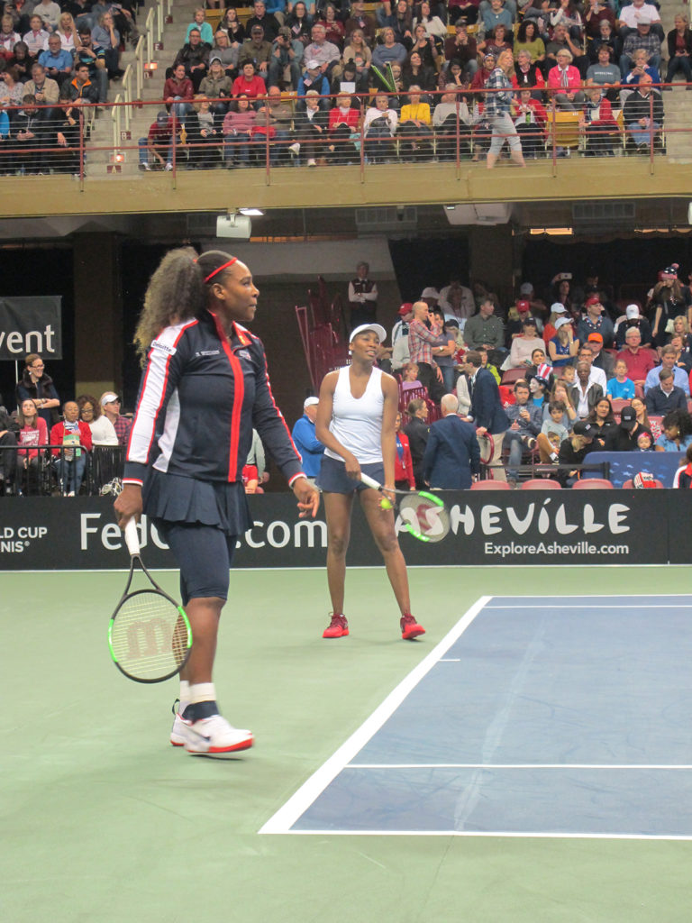 Venus and Serena WIliams at the Asheville FedCup in 2018 - Photo By Larry Halstead